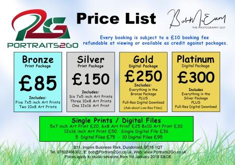 Open Price Guide | Portraits2Go co uk